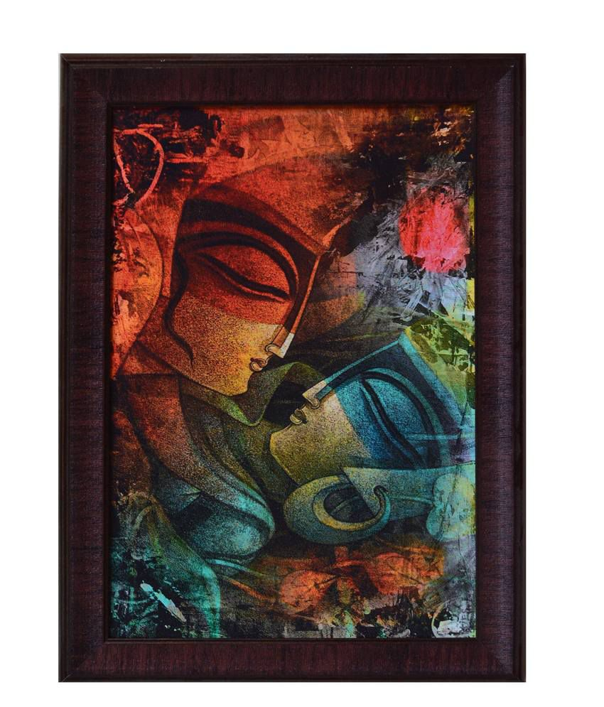 eCraftIndia Brown and Blue Synthetic Wood Abstract Painting