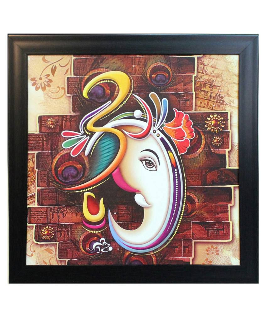 eCraftIndia Brown and White Synthetic Wood Religious Painting