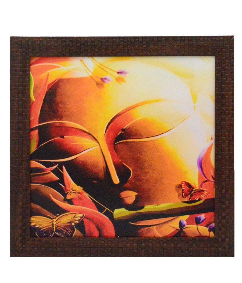 eCraftIndia Krishna playing Flute Design Satin Matt Texture Framed UV Art Print
