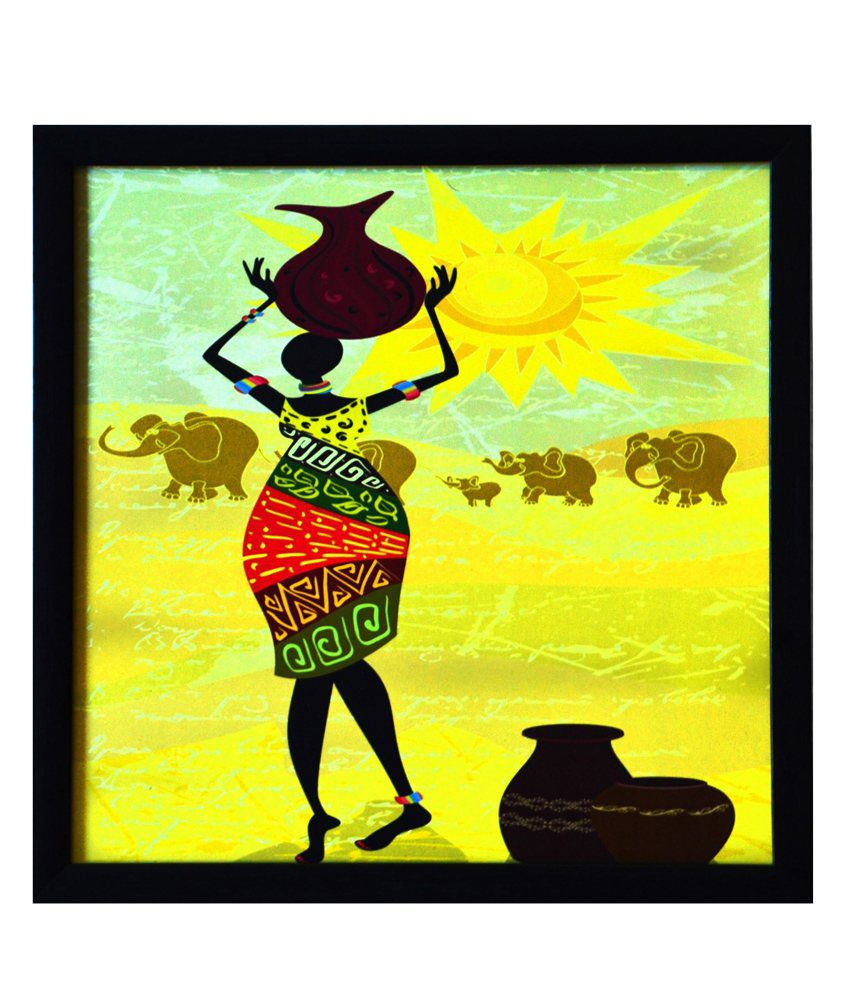eCraftIndia Tribal Lady Satin Matt Texture Framed UV Art Print