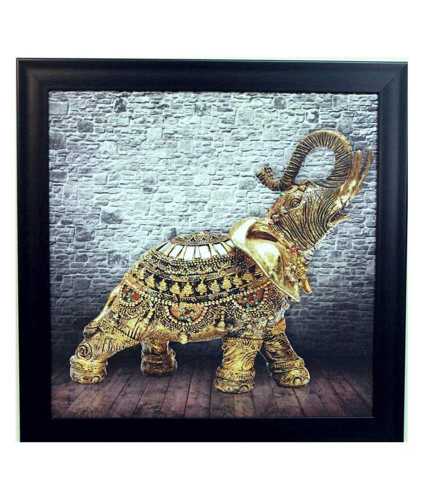 eCraftIndia Grey and Golden Synthetic Wood Animal Painting