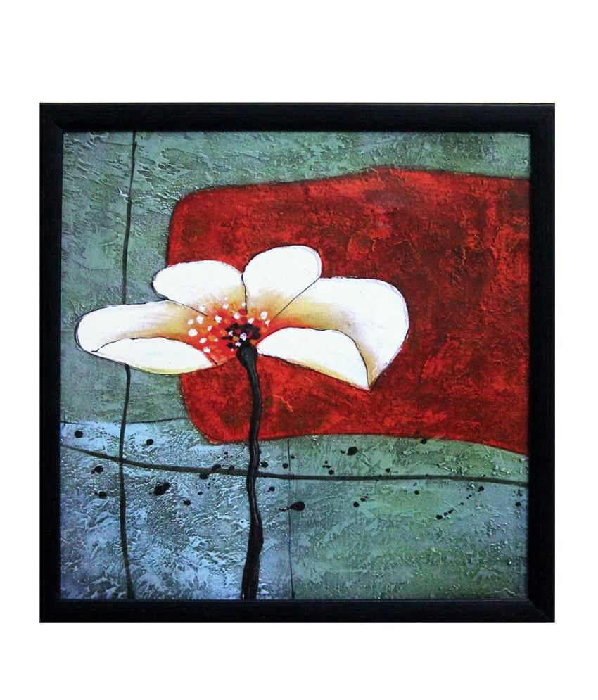 eCraftIndia Beautiful White Flower Satin Matt Texture Framed UV Art Print