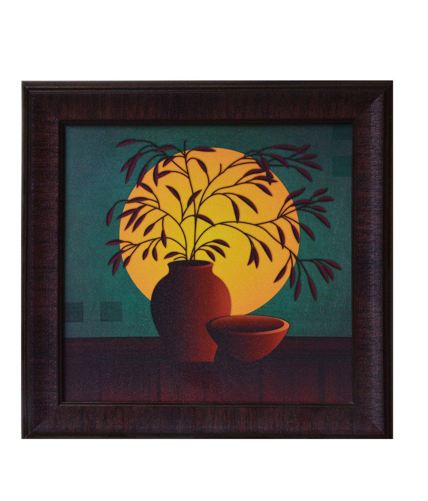 eCraftIndia Yellow and Brown Synthetic Wood Still Life Painting