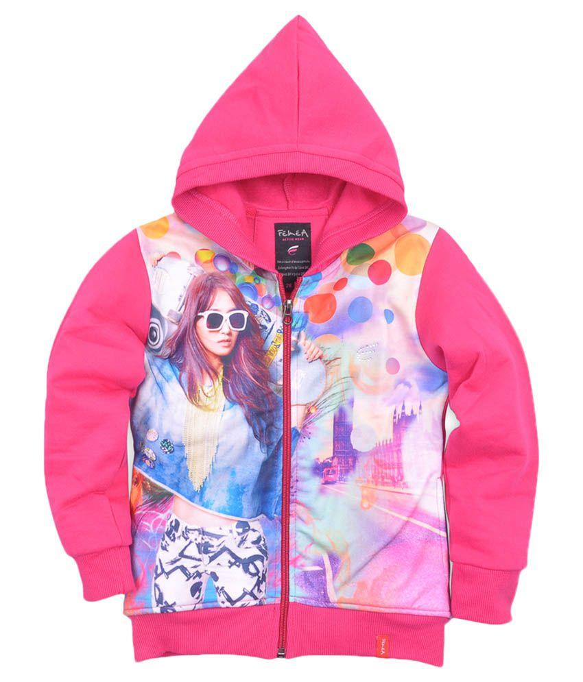Femea Pink Printed Full Sleeve Sweatshirt With Hood