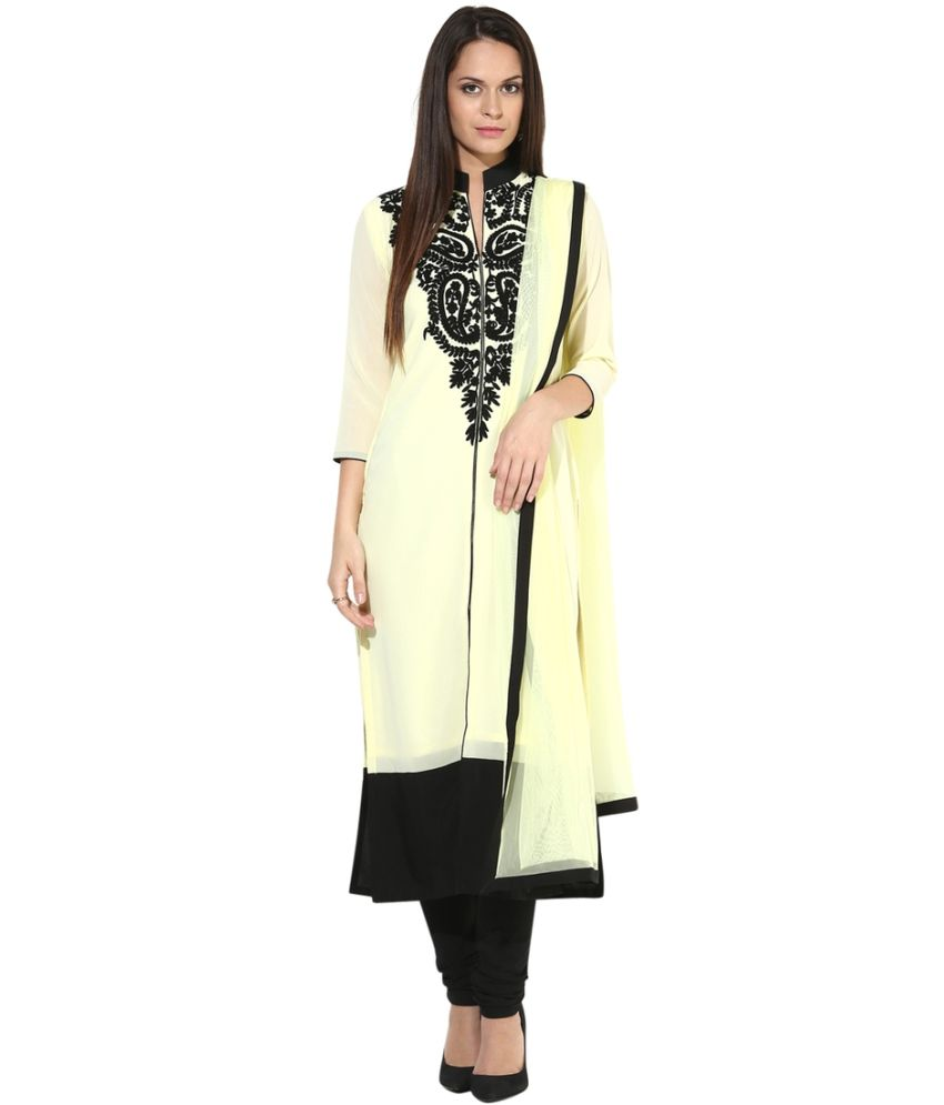 Aarohi Garment Beige Pure Georgette Kurti With Pants And Dupatta