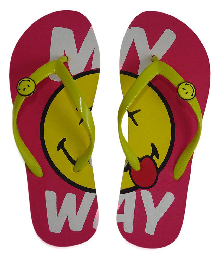 Smiley Multi Colour Flip Flops