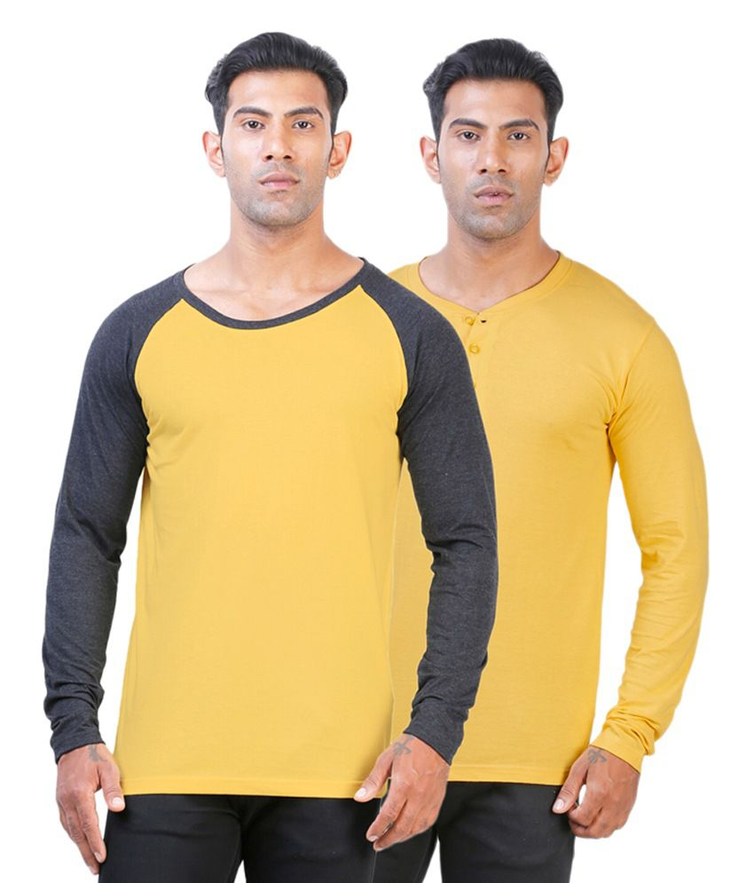 Street Junkies Yellow Cotton Round Neck & Henley T-Shirts (Pack of 2)