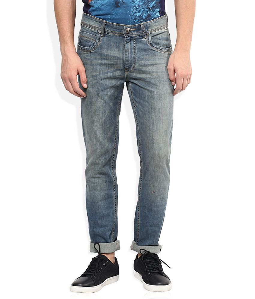 American Swan Blue Slim Fit Faded Jeans
