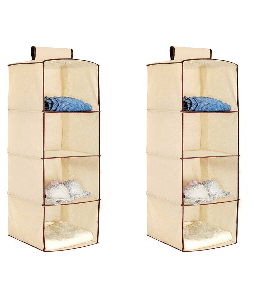 Pindia Set Of 2 Combo Cream 4 Layer Hanging Storage Organizer