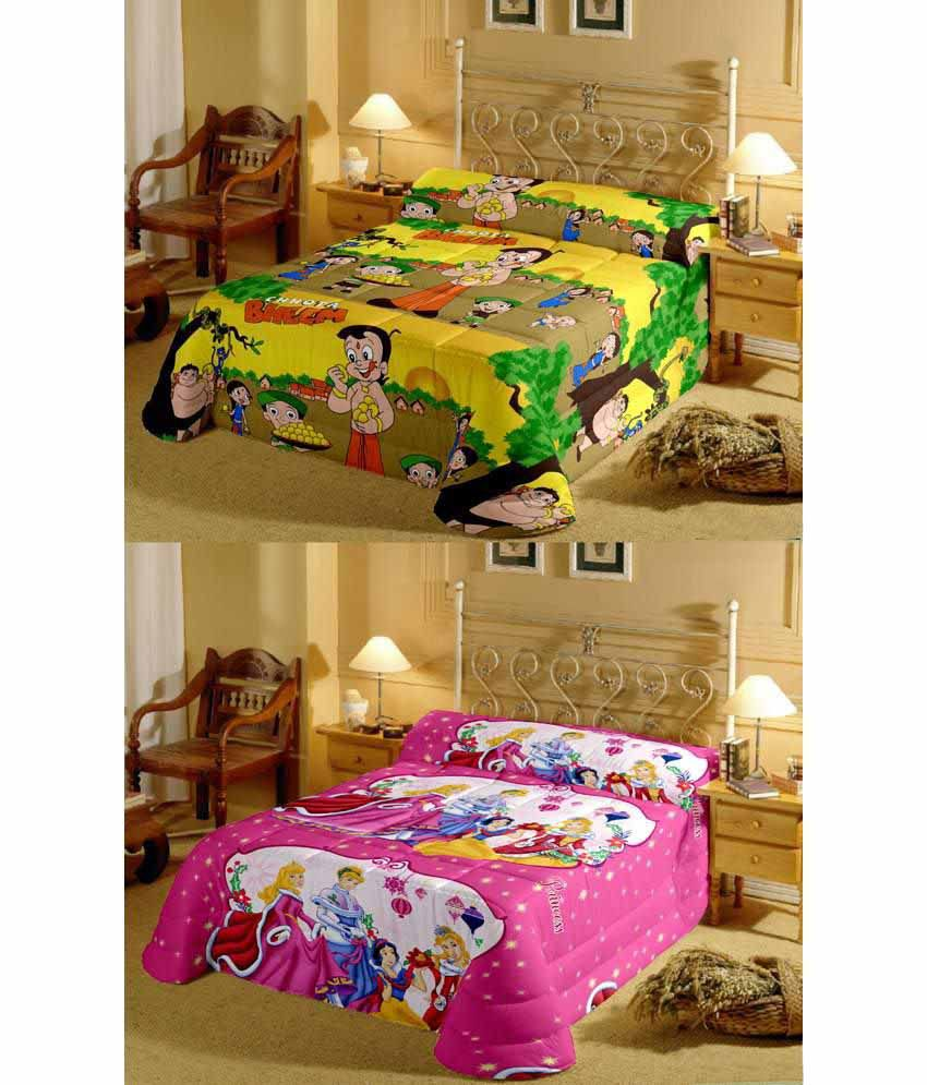 Renown Attractive Chota Bheem & White Princess Reversible Ac Blanket/Dohar Combo Set Of 2Pc