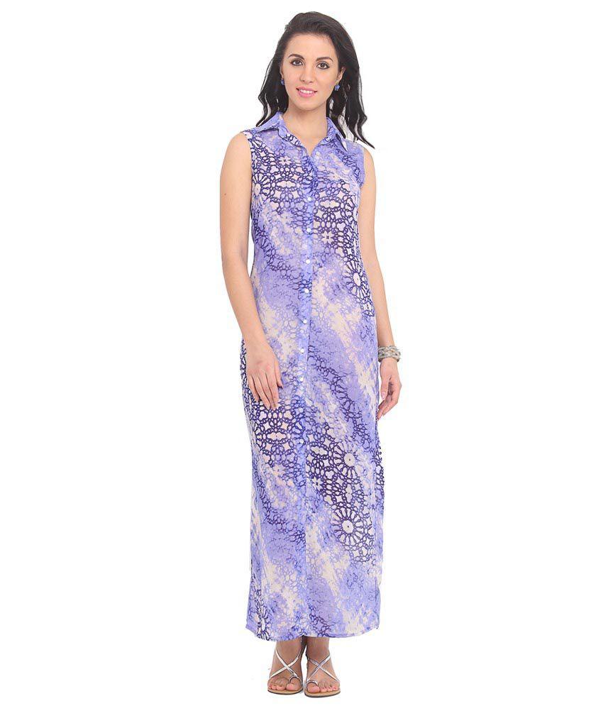 Ridress Purple Polyester Maxi Dress