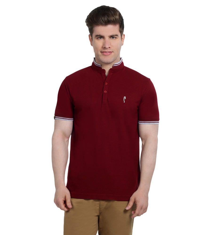 Stride Maroon Cotton T-Shirt