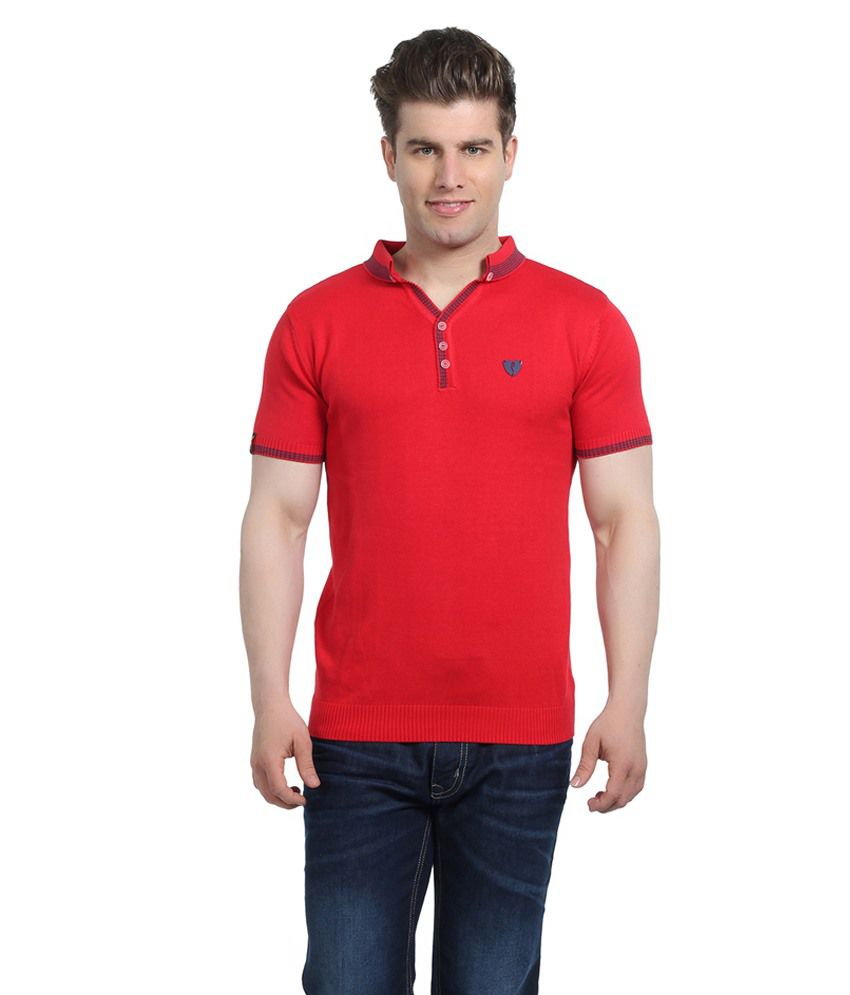 Stride Red Cotton T-Shirt