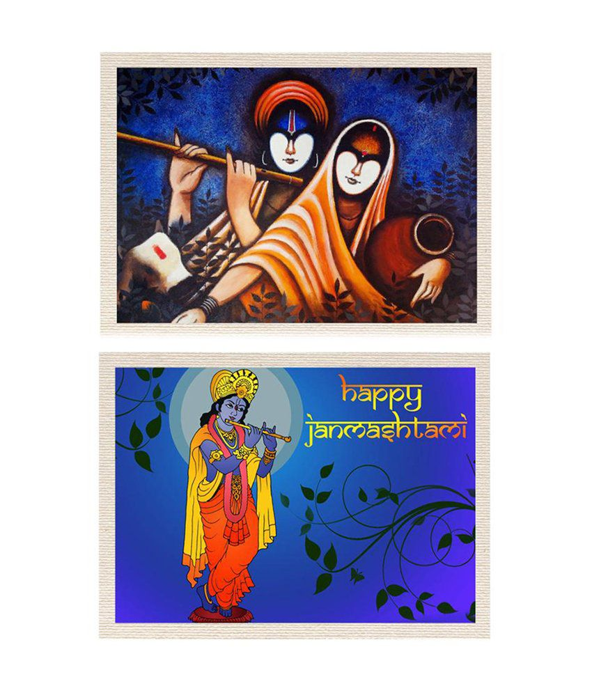 MeSleep Lord Krishna & Radhe-Krishna Canvas Painting without Frame - Combo