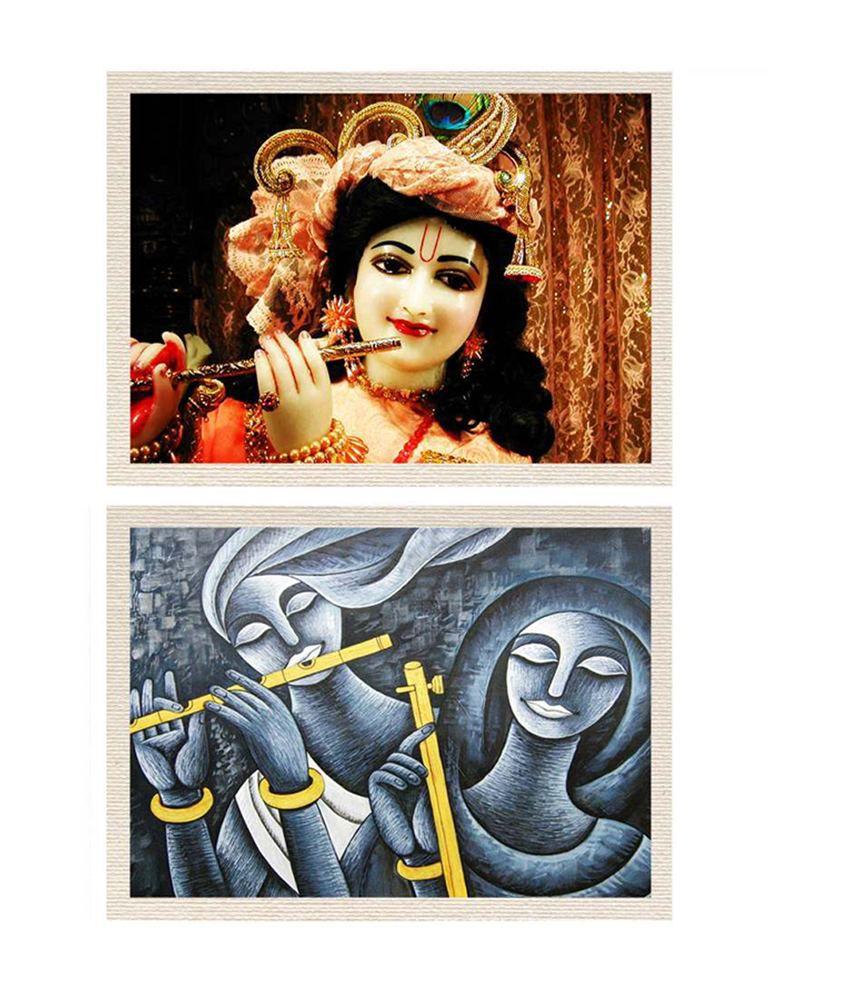 MeSleep Lord Sri Krishna & Radha Krishna Canvas Painting without Frame - Combo
