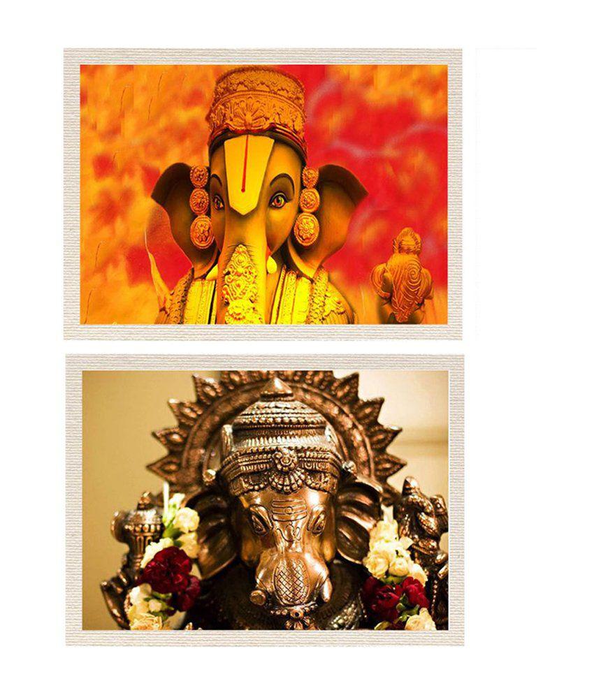 MeSleep Vighnaraja Shree Ganesha Canvas Painting without Frame - Combo
