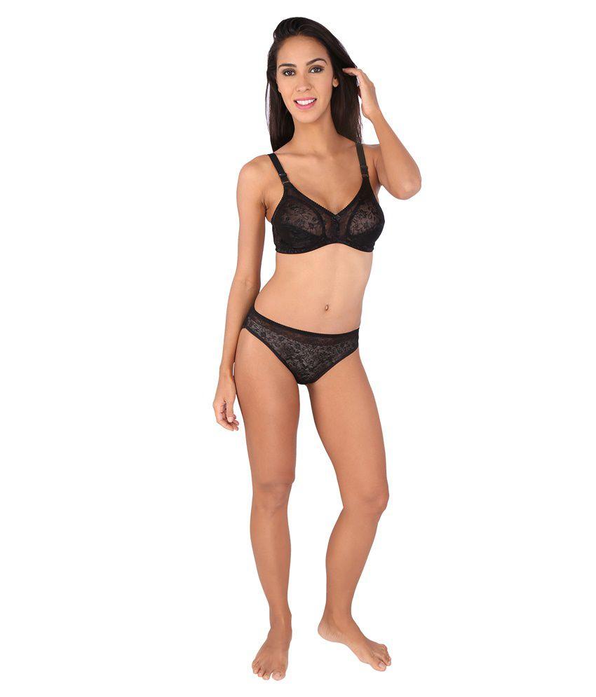 c46b2e86f3ef9 ... Black Bralux Women's Camy Lace Full Cup C Bra and Panty Set, Black