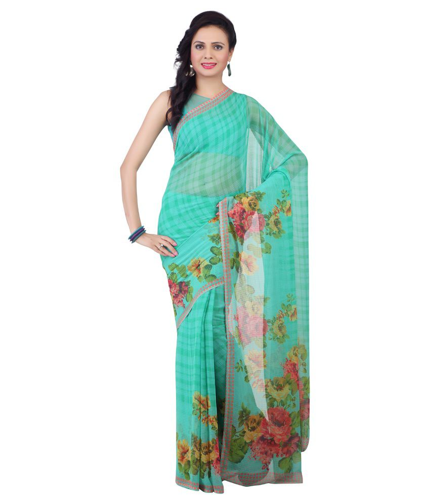 Jashn Green Faux Chiffon Saree