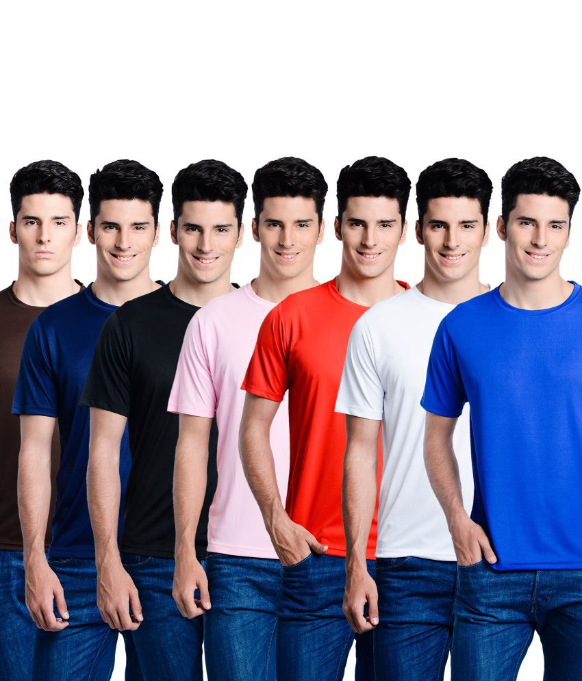 Superjoy Red Polyester Round Neck T Shirt - Combo Of 7