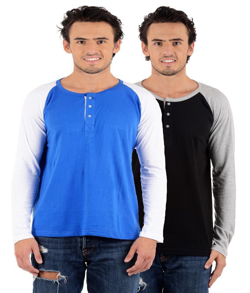 Big Idea Black & Blue Henley T-Shirts - Pack Of 2