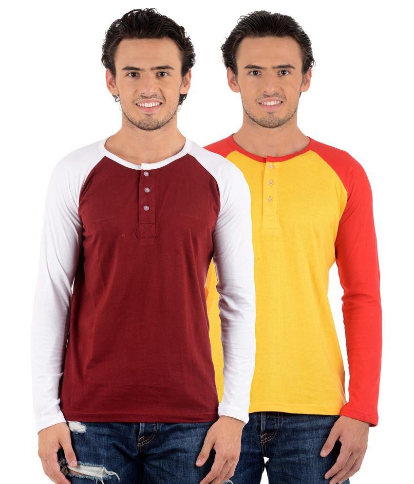 Big Idea Yellow  & Maroon Henley T-Shirts - Pack Of 2