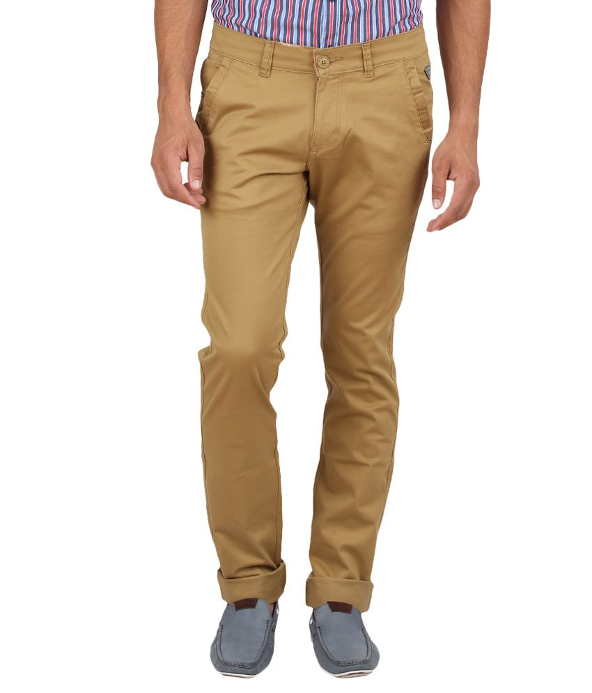 Volume Zero Khaki Slim Fit Casual Flat Trouser