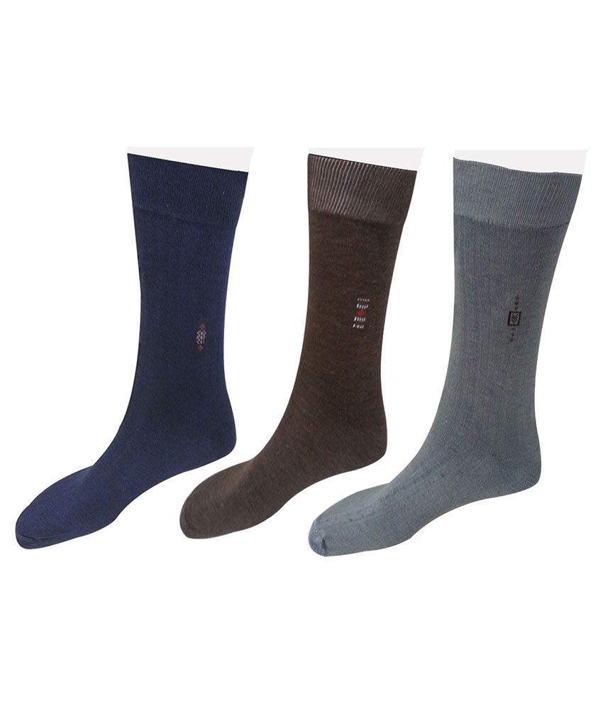 Axsglow Multicolour Polyester Full Length Socks Pair Of 3