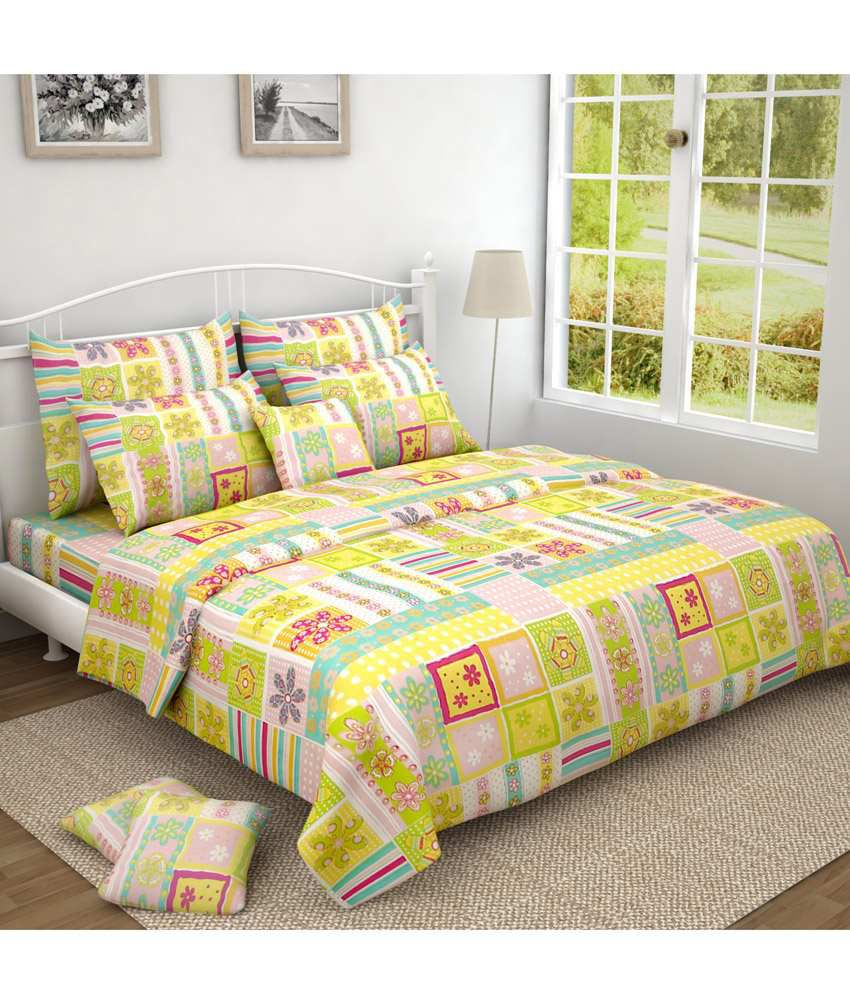 Oscar home yellow green floral double bedsheet with 2 for Oscar home