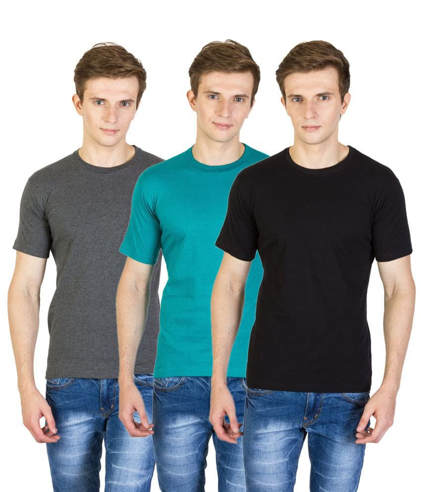 Value Shop India Pack of 3 Black, Gray & Green Cotton T Shirts for Men