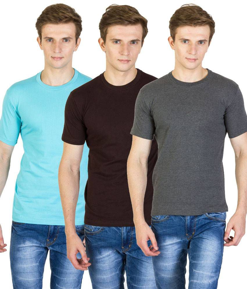 Value Shop India Pack of 3 Brown, Blue & Gray Cotton T Shirts for Men