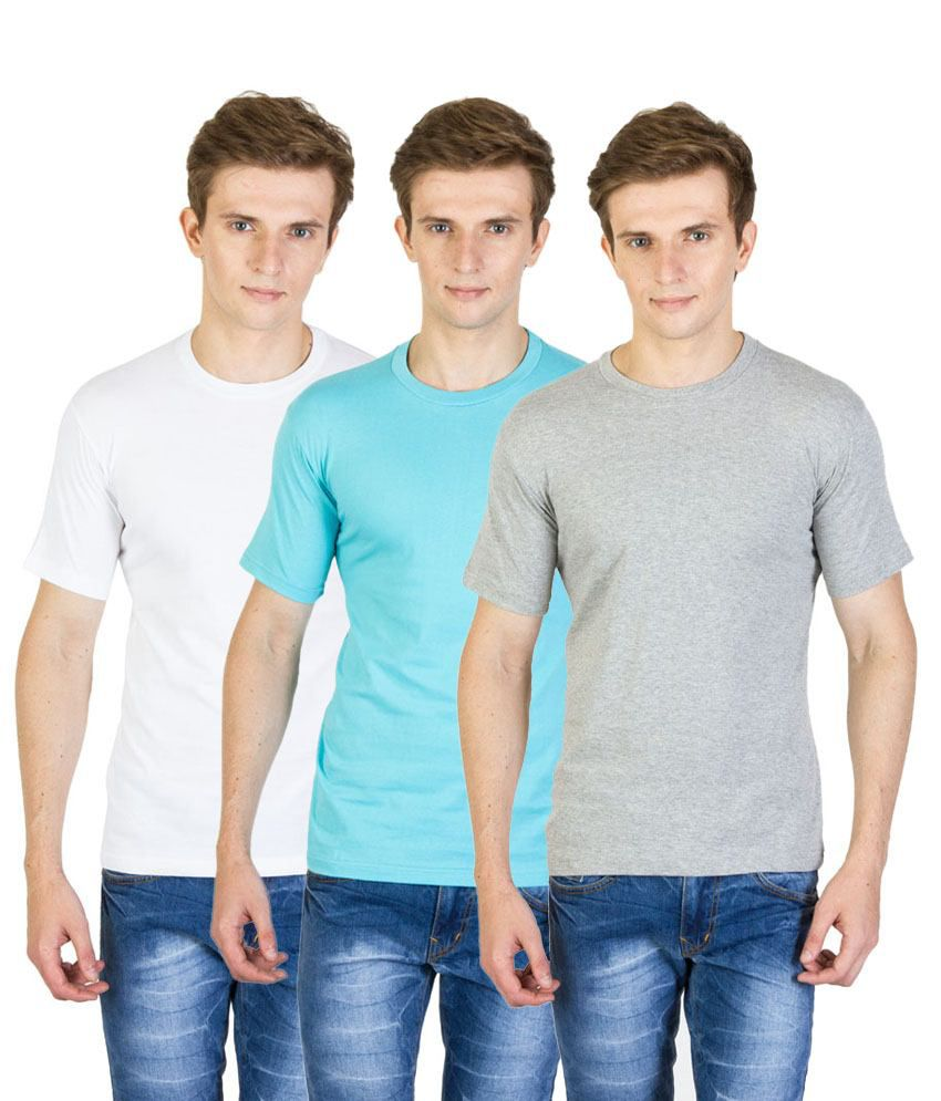 Value Shop India Pack of 3 Blue, White & Gray Cotton T Shirts for Men