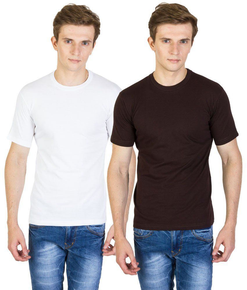 Value Shop India Pack of 2 Brown & White Cotton T Shirts for Men