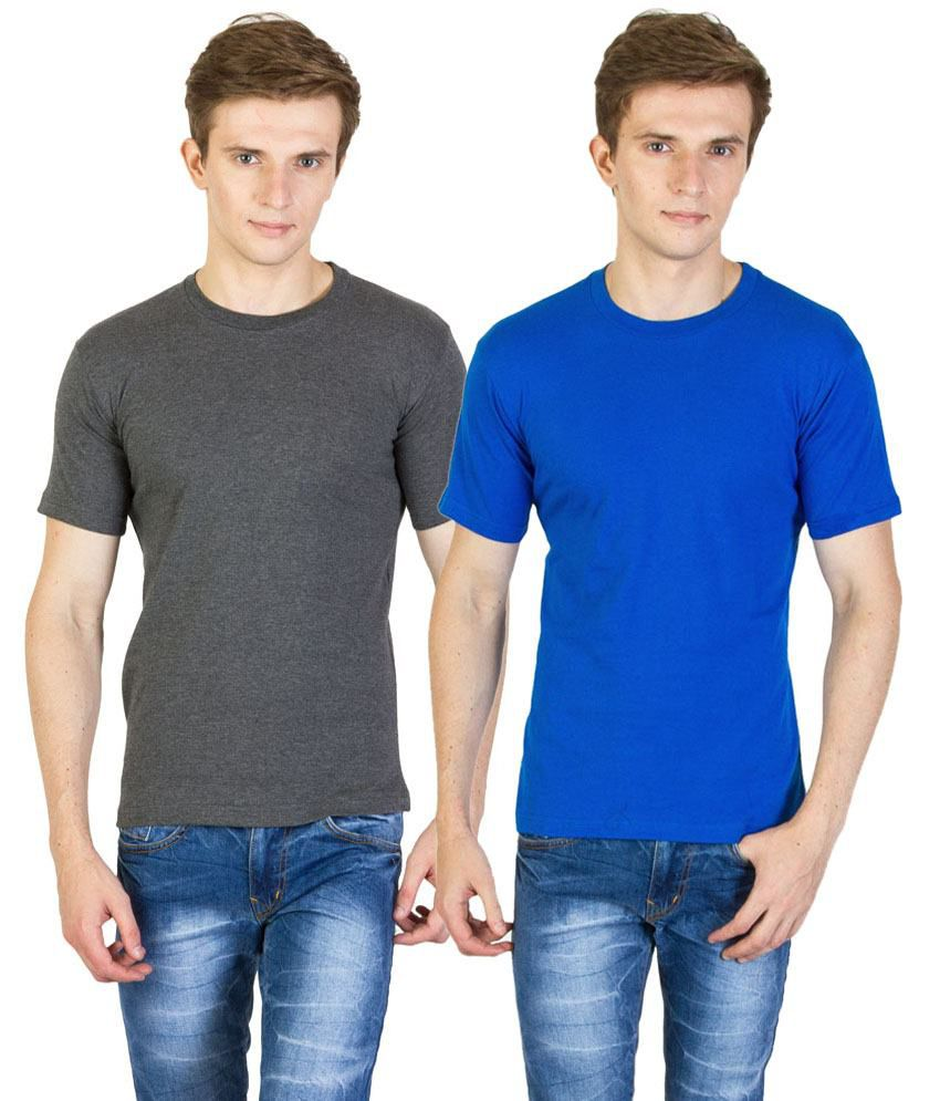Value Shop India Pack of 2 Gray & Blue Cotton T Shirts for Men