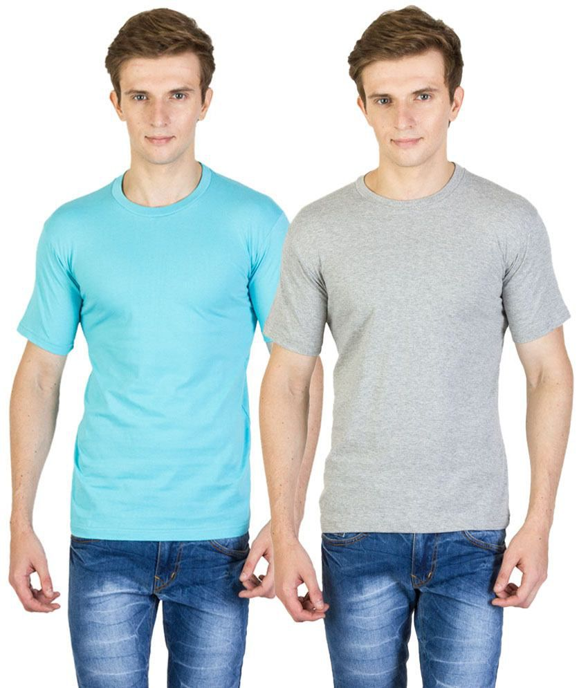 Value Shop India Pack of 2 Blue & Gray Cotton T Shirts for Men