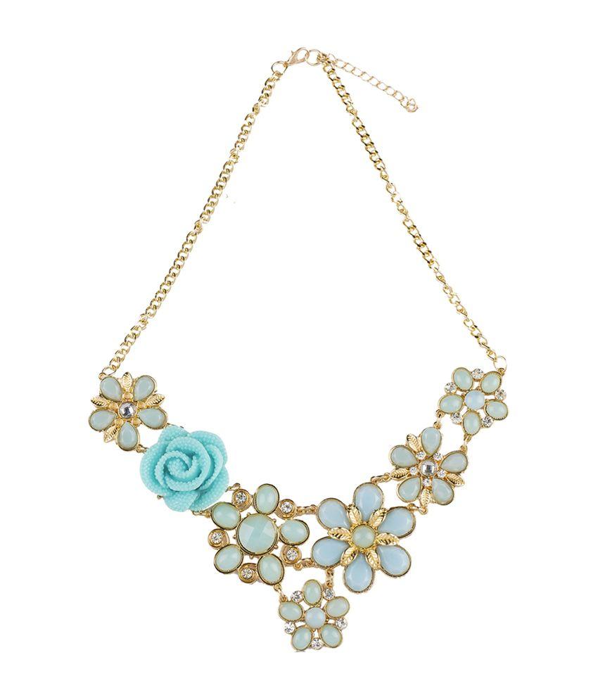 Ajara Blue Floral Design Alloy Necklace