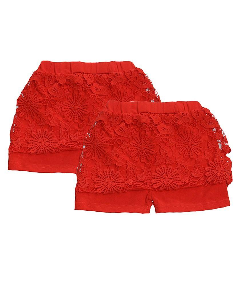 Rapchik Kid Red Shorts For Girls