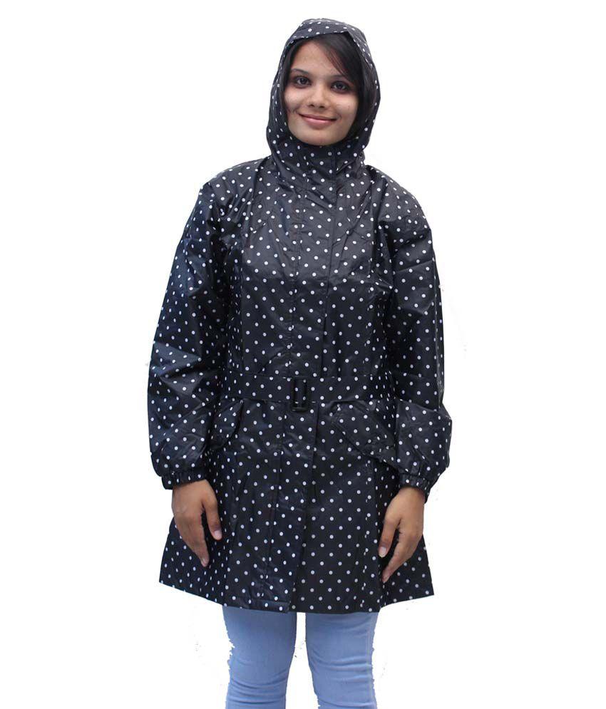 Romano Women'S Black Hooded Rain Overcoat
