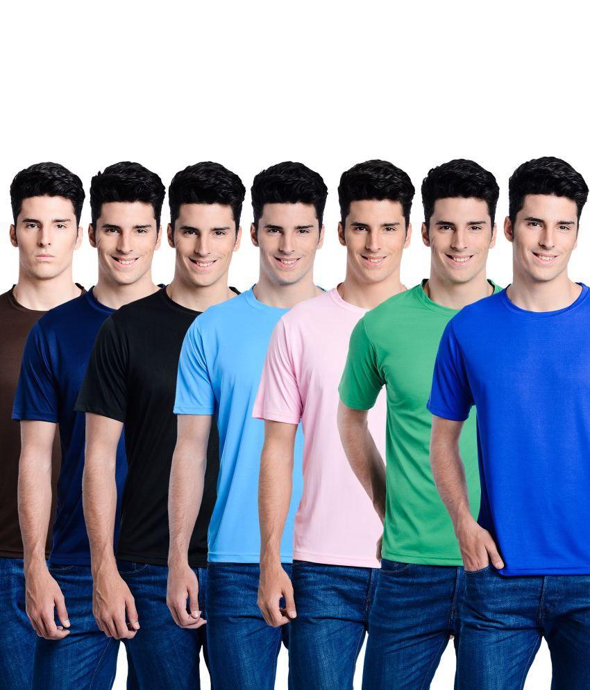 Superjoy Multicolor Polyester T-Shirt - Set Of 7