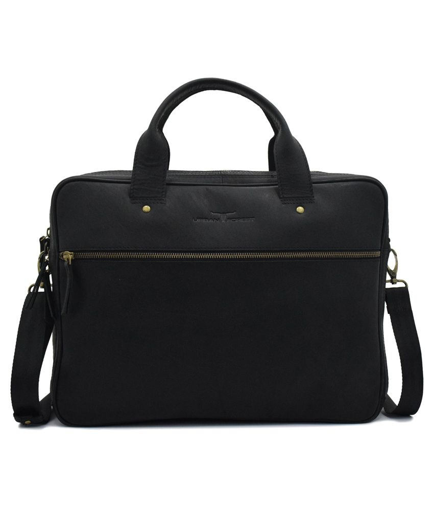 Urban Forest Black Leather Messenger Bag