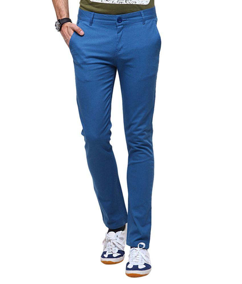 Vansh Enterprise Blue Cotton Formal Chinos
