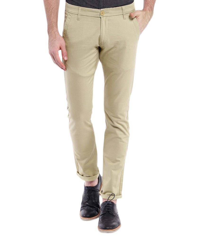 Vintage Beige Slim Fit Casual Chinos
