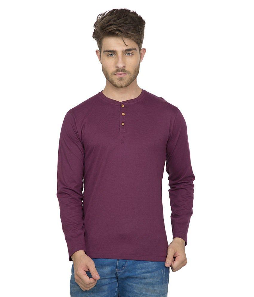 Clifton Men's Henley Cotton Full Sleeve T-Shirt-Wine