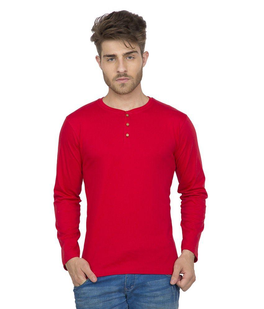 Clifton Men's Henley Cotton Full Sleeve T-Shirt-Red