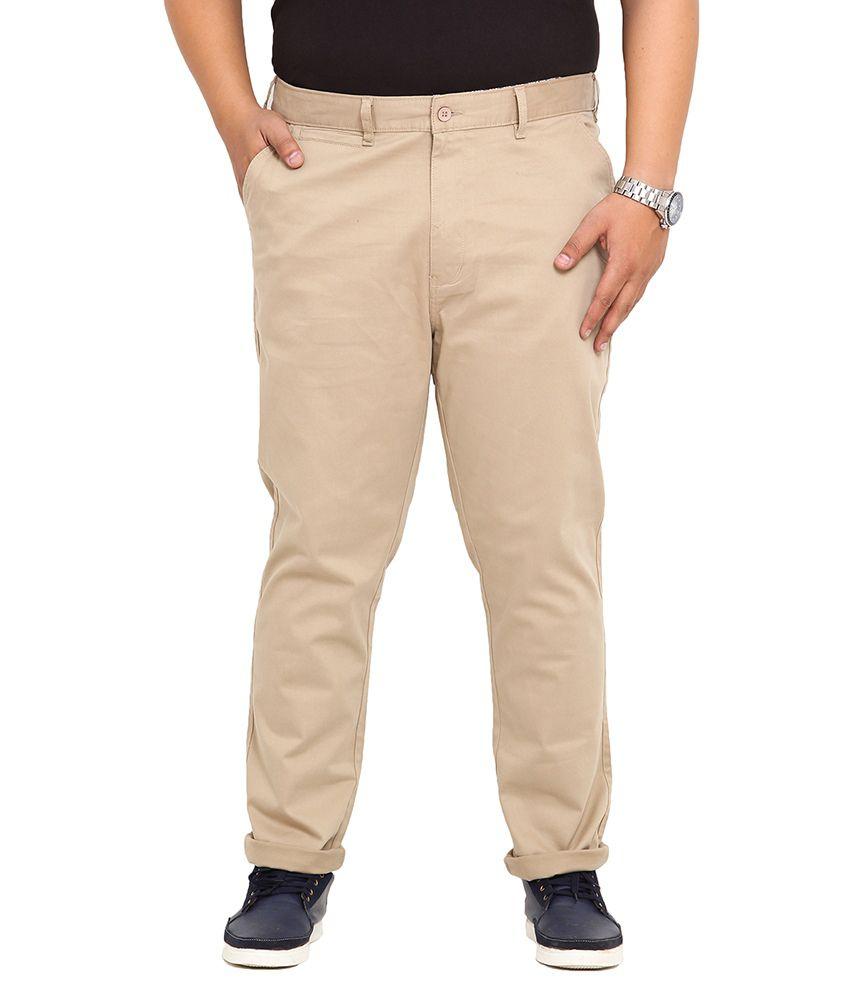 John Pride Beige Regular Fit Casual Flat Stretch Trouser