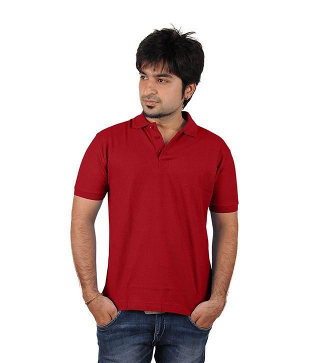Trend Tex Red Cotton Plain T Shirts