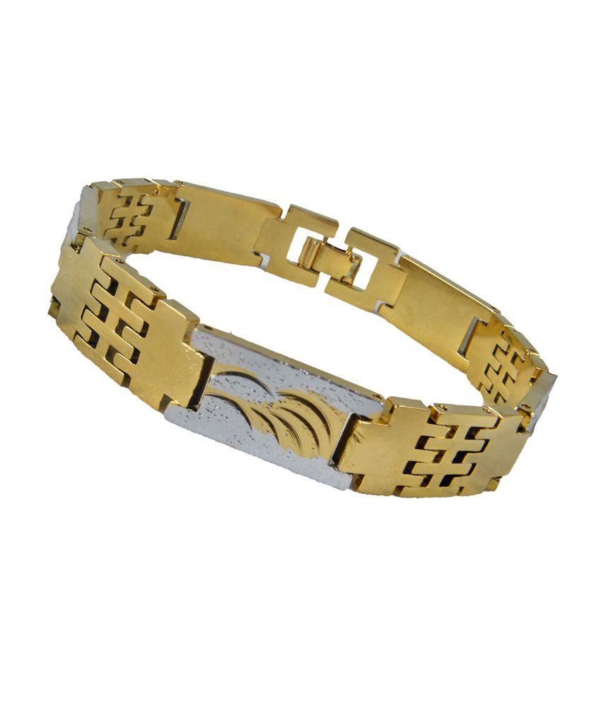 Glitz Golden Stainless Steel Bracelet