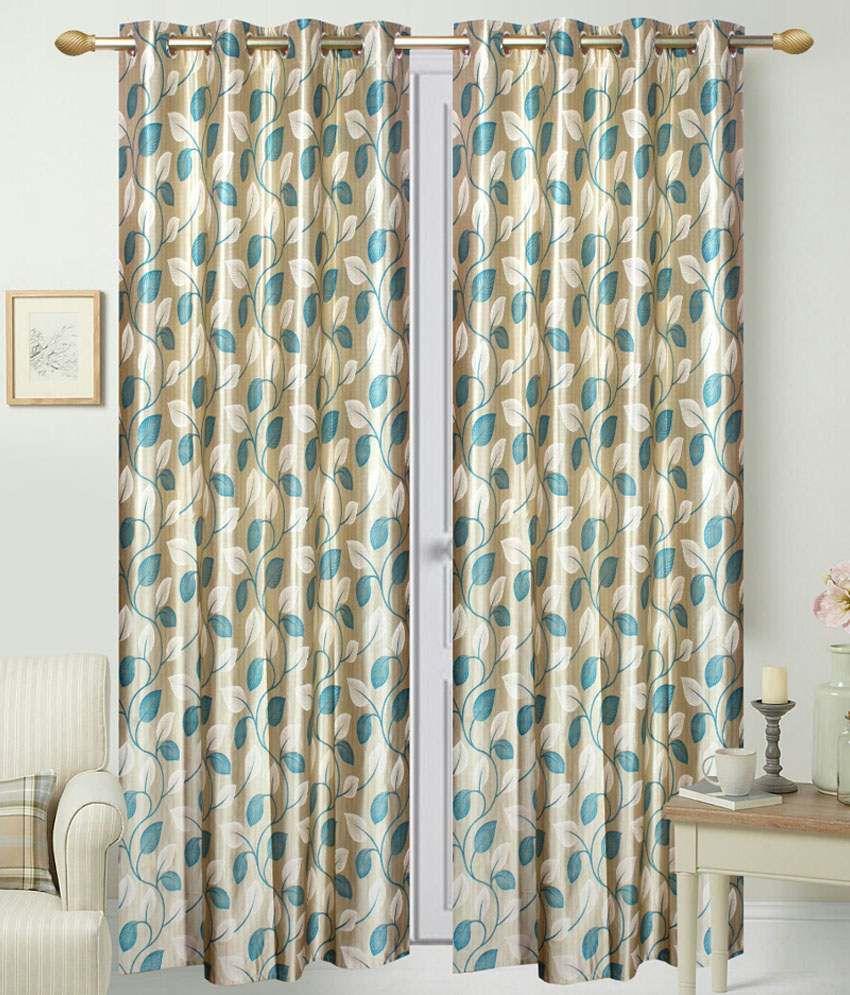 livvin set of 4 long door eyelet curtains floral blue. Black Bedroom Furniture Sets. Home Design Ideas