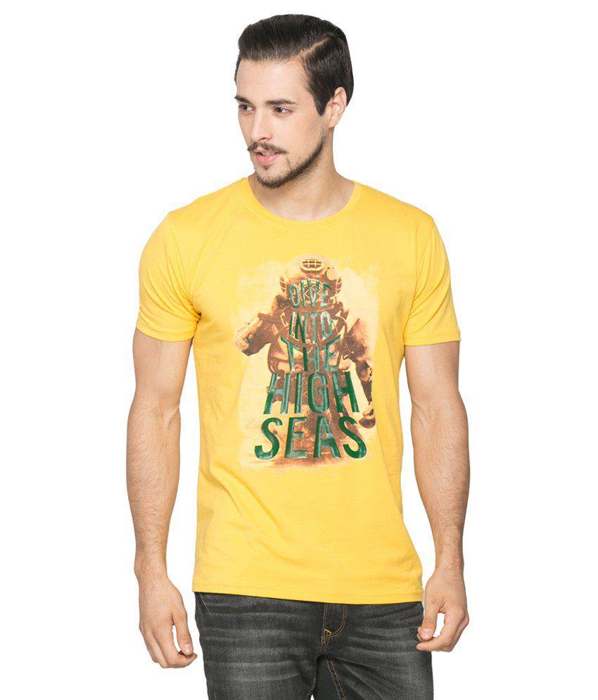Spykar Yellow Cotton Blend T-Shirt