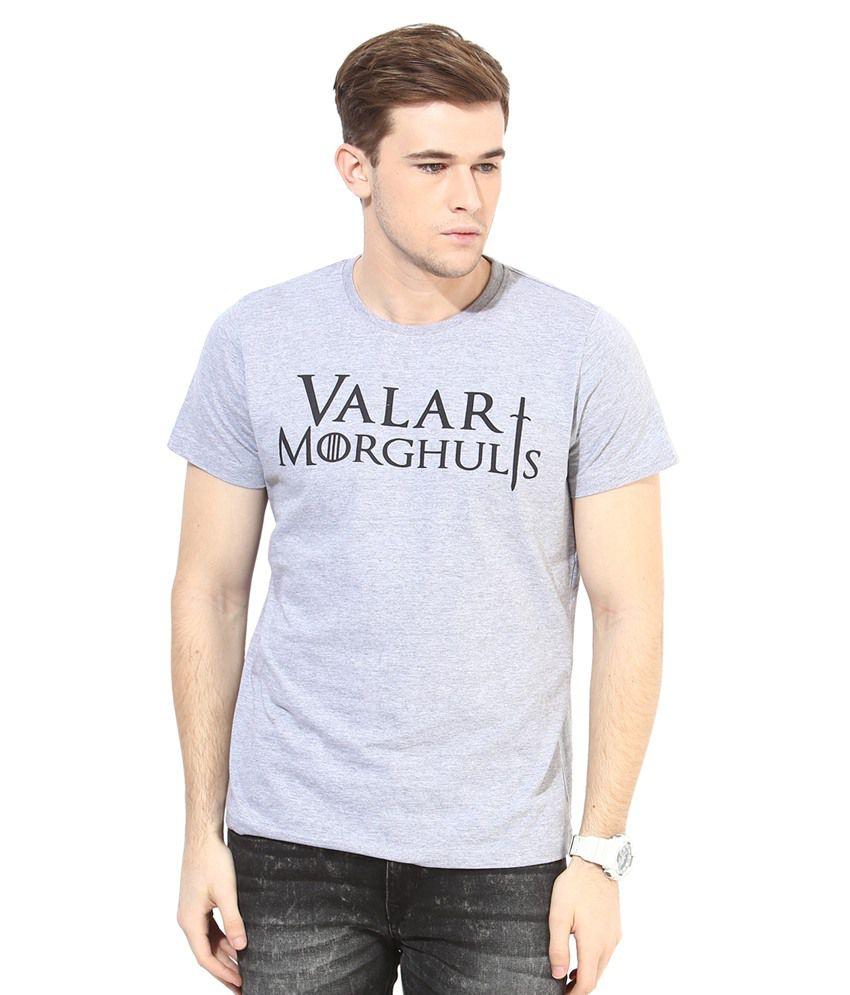 White Kalia Grey Printed Cotton T-Shirt