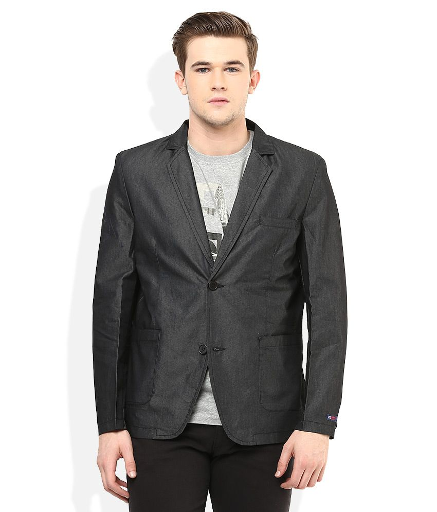 American Swan Black Solid Semi-Formal Blazers